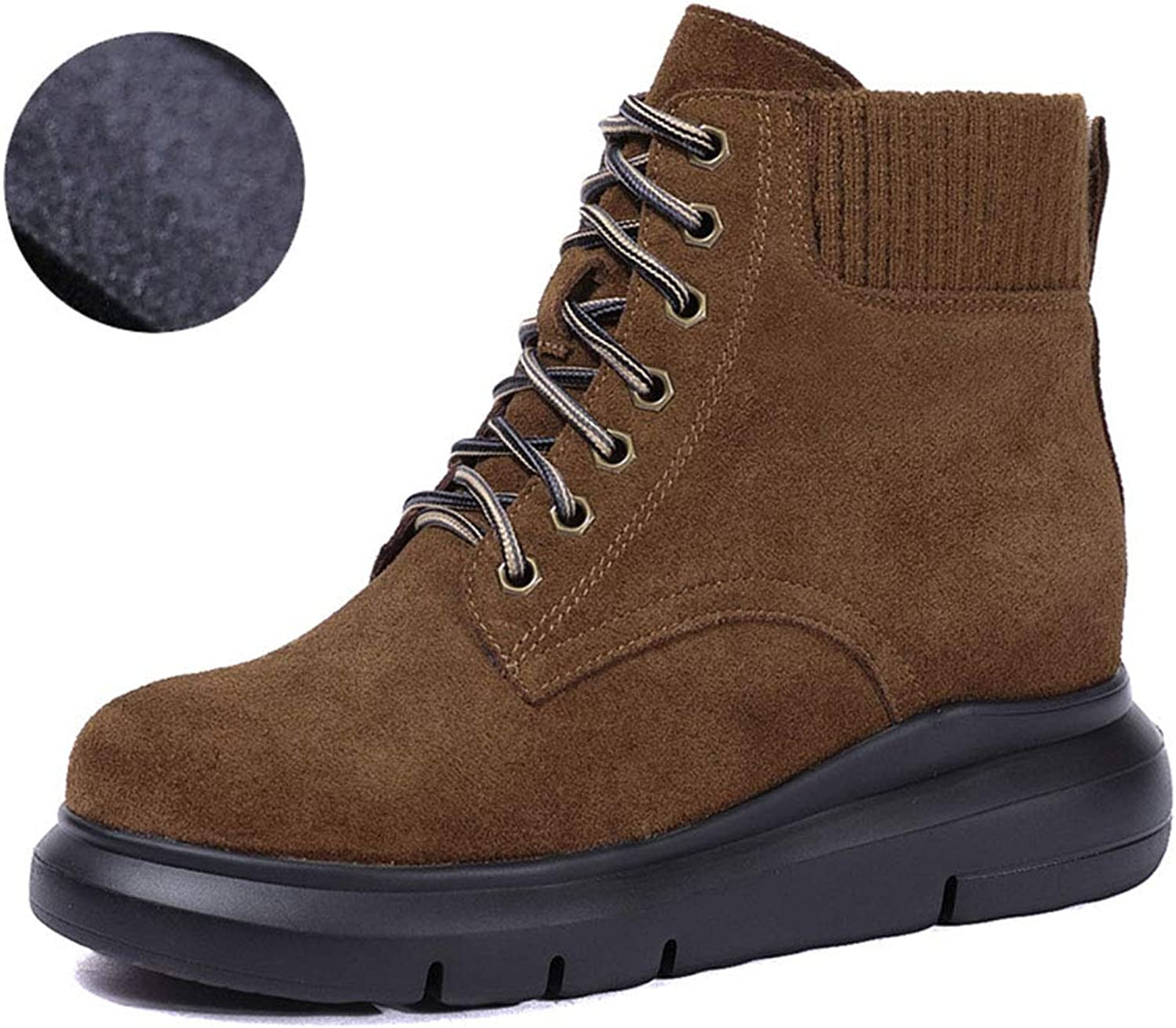 Women's Booties, Autumn Winter New Leather Martin Boots Thick-Soled Warm Snow Boots Increased Short Boots Women's Single Boots Casual Women's Boots (color   C, Size   39)