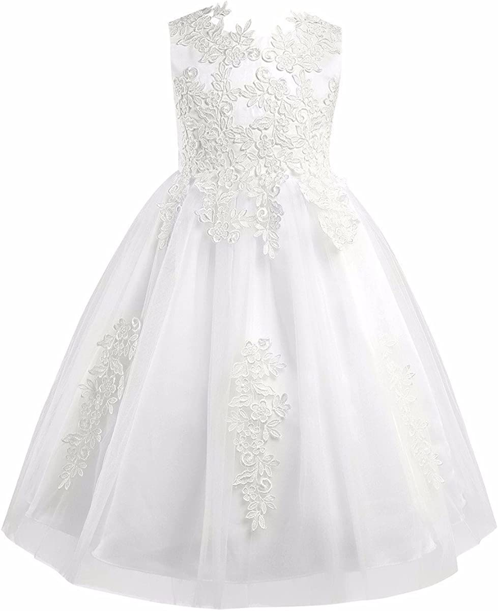 FEESHOW Crochet Embroidered Flower Girl Dress Princess Pageant Formal Wedding Bridesmaid Party Prom Dress