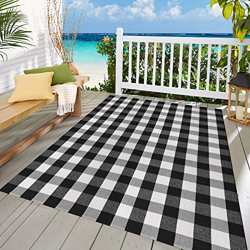 MUBIN Buffalo Check Rug Black/White Plaid Rugs 5.5ft x 7.5ft Cotton Washable Hand-Woven Outdoor Area Rugs