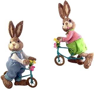 Sisal Easter Bunnies on Bikes 14 Inch