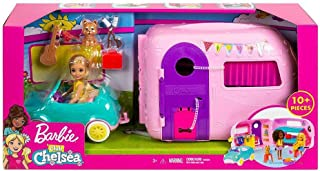 Barbie FXG90 Club Chelsea Camper Playset with Chelsea Doll, Puppy, Car, Camper, Firepit, Guitar and 10 Accessories, Gift f...