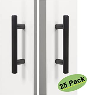 Black Drawer Pulls 3Inch (76mm) Hole Centers Cabinet Door Handles 25 Pack- Homdiy HD201BK Overall Length 5 Inch Stainless Steel T Bar Pull Knobs