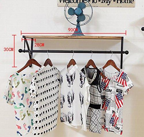 YMJ Coat rack Wall Mounted Clothes Garment Rail Hanging Rack Clothing Display (Zwart 90 cm) Wandmontage kapstok