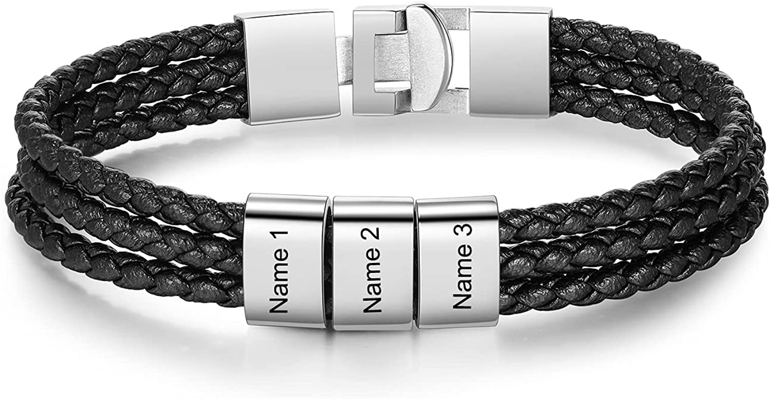Jeweidea Personalized 5 ☆ popular Fashionable Leather Bracelet with 1-8 Name Beads Cust