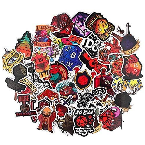 XXCKA Pegatina de dragón y mazmorra, Maleta Impermeable, portátil, Pegatina para Equipaje, 38 Juguetes clásicos para niños