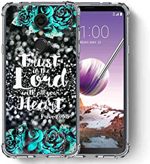for LG Stylo 4 Case, LG Q Stylus Case, SuperbBeast Ultra Slim Thin Protective Case w/Reinforced Corners Vector Floral Flowers Polka Dots [Glitter Pattern]