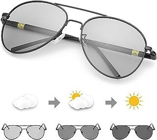 Polarizadas Gafas de Sol Fotocromaticas Hombre, Aviador Metal Marco Antideslumbrante -100% Protección UVA UVB