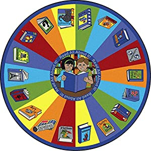 Educational Read All About It Kids Rug Rug Size: Round 13'2″