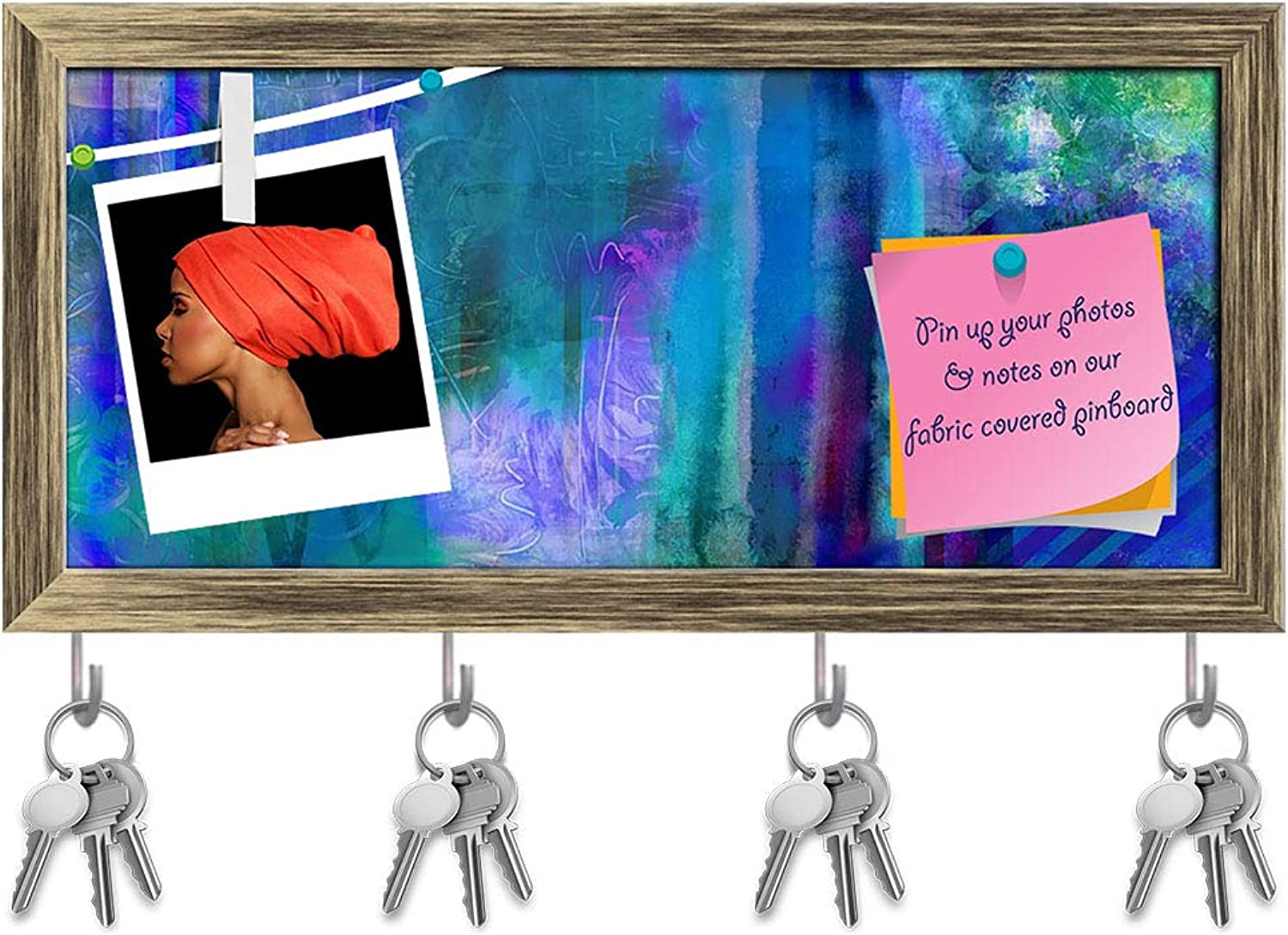 Artzfolio Abstract Decorative bluee Tones Key Holder Hooks   Notice Pin Board   Antique golden Frame 17.1 X 8Inch