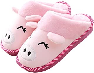 Womens and Mens Indoor Warm Fleece Slippers Cute Cartoon Pig Winter Soft Cozy Booties Non-Slip Plush Mules Home Bedroom Sl...