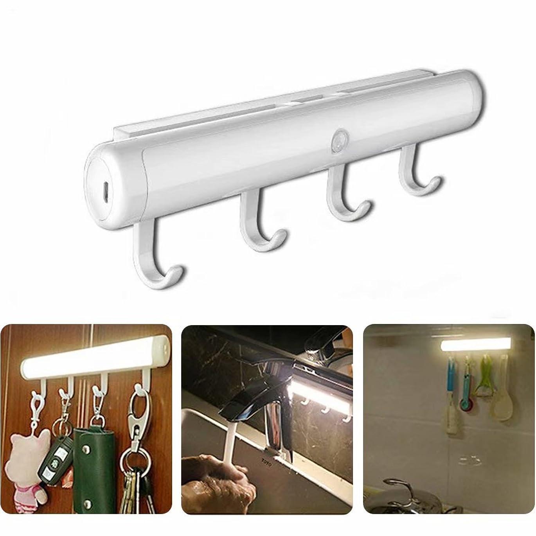 入浴偽善化学薬品Motion Sensor Lights, VMAE Rechargeable Auto On/Off LED Nightlight, Smart Wireless Stick-Anywhere Cordless Wall Lamps with Detachable Hooks for Closet, Shoe Cabinet, Kitchen - Warm White