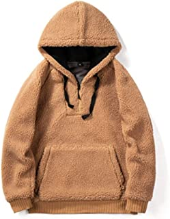 Bbwjsh Solid Color Hooded Sweater Plush Men's Fashion Hoodies (Color : Khaki, Size : L)