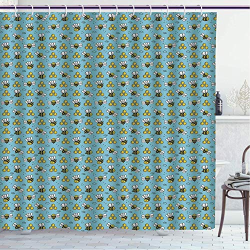 BLSYP Duschvorhang Cool Shower Curtain/Honey Bee, Cartoon Style Demonstration of Happy Bugs, Pale Sky Blue Mustard Charcoal Grey and White/Polyester Bathroom Accessories Home Decoration 72