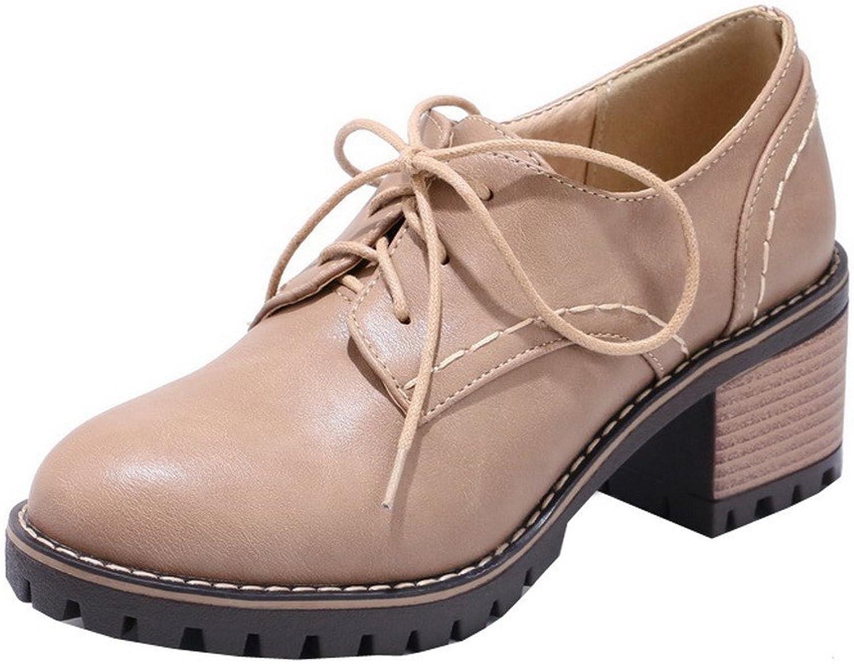 AllhqFashion Women's PU Solid Lace-up Closed-Toe Kitten-Heels Pumps-shoes