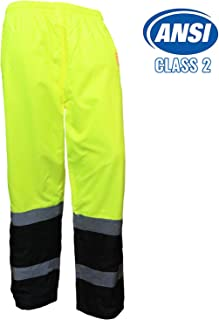 New York Hi-Viz Workwear WP0212 Insulated thermal lined Waterproof Rain Pants Over Trousers (Lime, Extra Large)