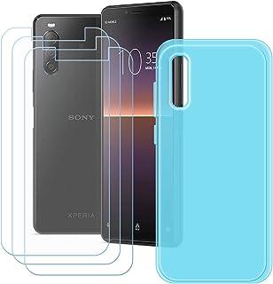 YZKJ Skyddsfodral för Sony Xperia 1 II Cover blå silikon skyddsfodral TPU skal skal skal + 3 stycken pansarglas skärmskydd...