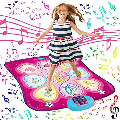 SUNLIN Dance Mat - Dance Mixer Rhythm Step Play Mat - Dance Game Toy Gift for Kids Girls Boys - Dance Pad with LED Lights, Adjustable Volume, Built-in Music, 3 Challenge Levels (35.4