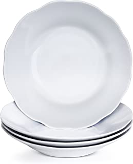 Y YHY 15 Ounces Porcelain Pasta, Soup Bowls, 9 Inches Salad Bowl Set, White and Shallow, Set of 4, Scallop Design
