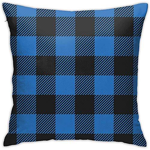 July blauw en zwart flanel plaid Throw kussensloop zonder inzetstukken kussensloop voor Home Sofa Slaapkamer Huis Party