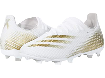 adidas Kids X Ghosted.3 FG J Soccer (Little Kid/Big Kid) (Footwear White/Metallic Gold Melange) Kids Shoes