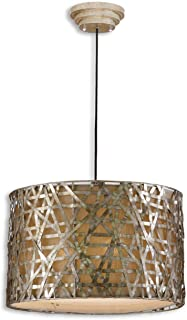 Silver Leaf Black Alita 3 Light Metal Hanging Shade Pendant From The Naturals Collection