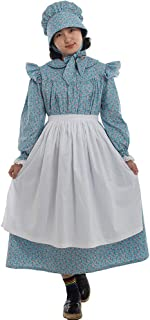 Pioneer Girls Dress Colonial Prairie Costume 100% Cotton (6 Colors Option)