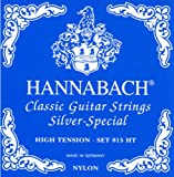 Hannabach Cuerdas para Guitarra Clásica Serie 815, Tensión Alta, Plateado Especial, Set