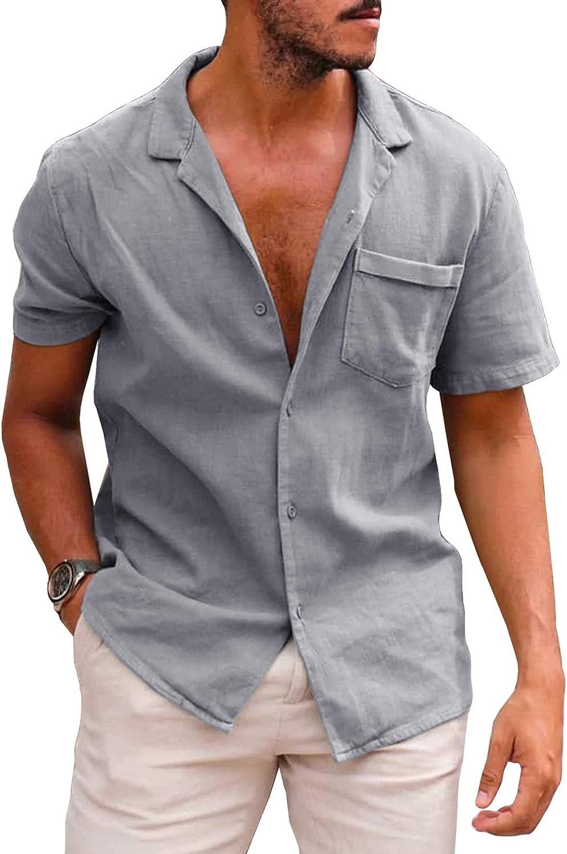 Dokotoo Mens Basic Summer Casual Short Sleeve Shirts Botton Up Beach Fishing Shirts Tops