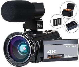 HD ビデオカメラACTITOP デジタルビデオカメラ 4K フルHD WIFI機能 16倍デジタルズーム IR夜視機能 3.0インチタッチモニター 外部マイク 超広角レンズ搭載 カメラバッグ 日本語システム (4800万画素) (214K)
