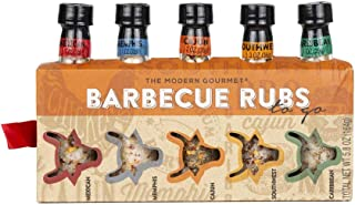 Thoughtfully Gifts, Barbecue Rubs To Go: Grill Edition, Set of 5 Unique BBQ Rubs, Including Cajun, Caribbean, Mexican, Southwest, and Memphis