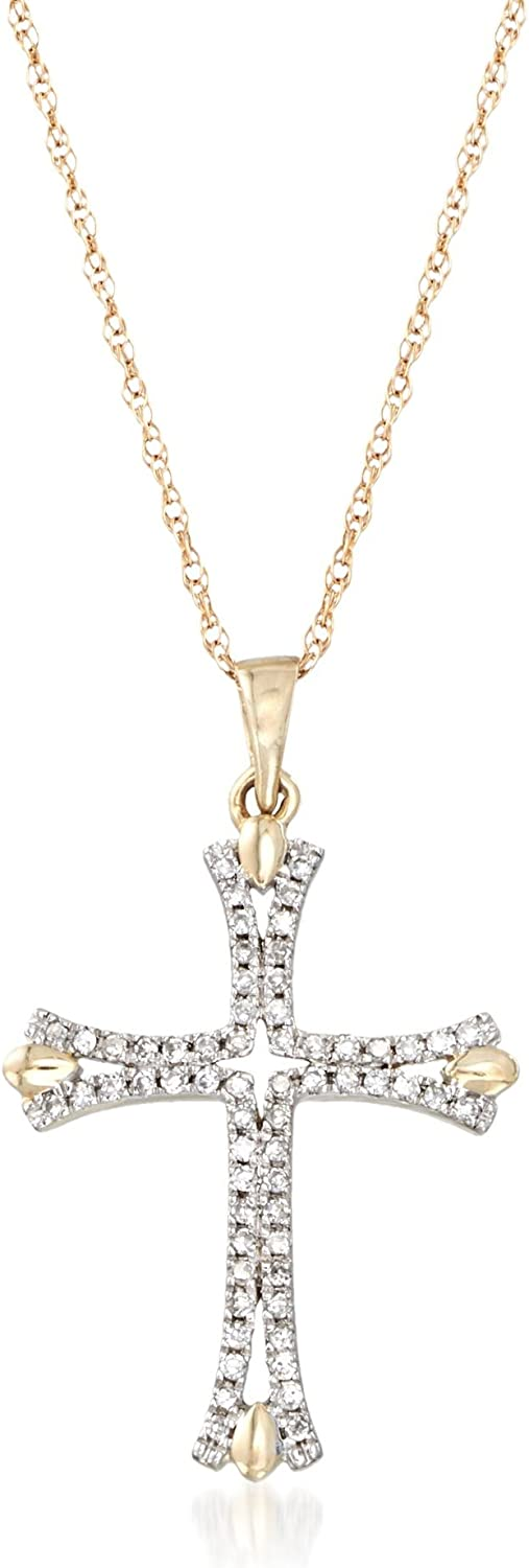Ross-Simons 0.12 ct. t.w. Diamond Cross Pendant Necklace in 14kt Yellow Gold