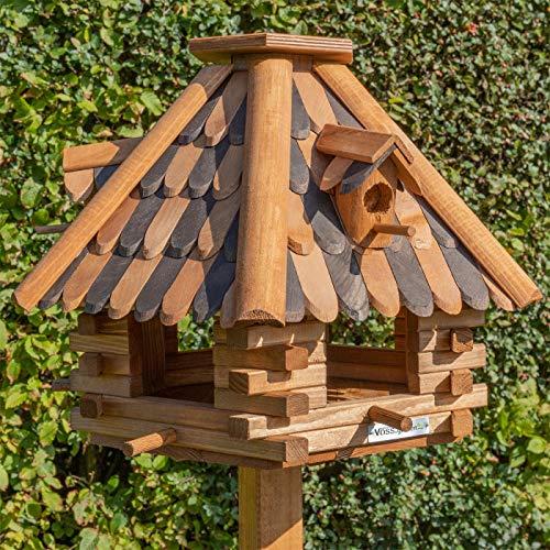 VOSS.garden Vogelhaus LilleHus aus Holz mit Zweifarbigen Dachschindeln, Sechseck-Vogelhaus mit Sitzstangen für Vögel, 38cm Durchmesser Bodenplatte, Wetterbeständig, Vogelfutterhaus