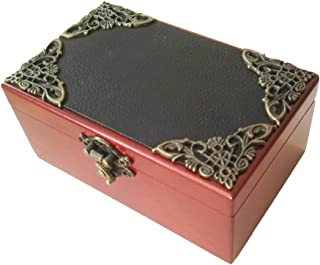 FnLy 18 Notes Antique Lace Wind-Up Wooden Musical Box with Gold-Plating Movement in,Small Size Storage Music Box,Leather Cover Music Gift Box,Tori No Uta Music Box