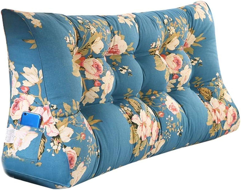 Coton simple tête de lit triangle coussin oreiller tatami oreiller oreiller lombaire double soft pack lit grand coussin canapé arrière taille PP coton rembourrage (Couleur   Bleu, taille   150cm)