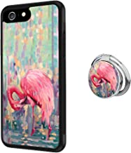Case for iPhone 6s 6, Flamingos Painting with Ring Holder Anti-Scratch Hard Backplate Back Cover for iPhone 6s 6 Black Shock-Proof Protective Case [Anti-Slippery]
