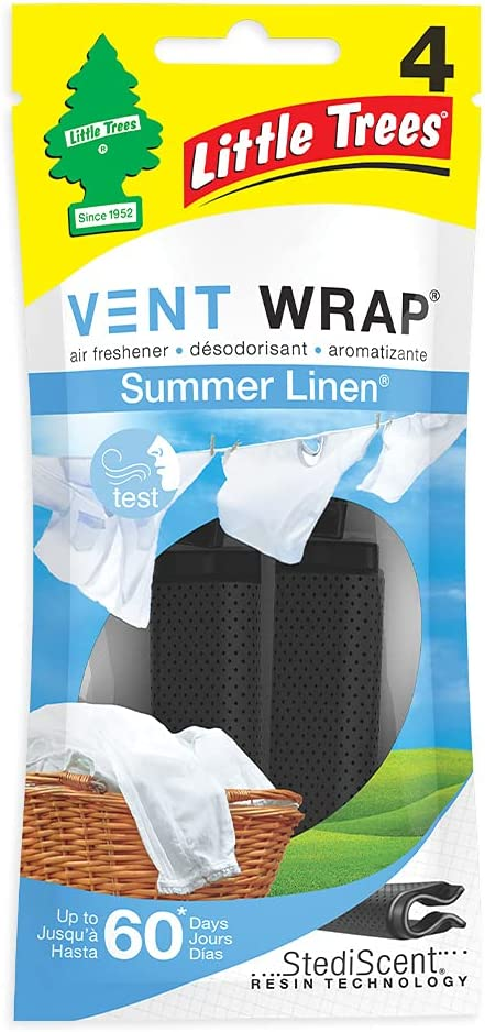 Little Trees Car Air Freshener | Vent Wrap Provides Long-Lasting Scent, Invisibly Fresh! | Summer Linen, 4 count (Pack of 4)