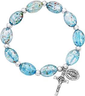 Rosemarie & Jubalee Women's Religious Imitation Murano Glass Oval Bead Rosary Stretch Bracelet