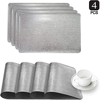 Dainty Home Reversible Metallic Galaxy Snake Skin Texture Dining Table Indoor Outdoor Placemats Set of 4, 12 inch x 18 inch Rectangle, Solid Silver
