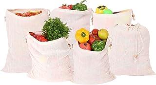 Earthy Fab Fridge Bag for Vegetables Storage. 100% Cotton, Biodegradable, Reusable, Multipurpose. Set of 6