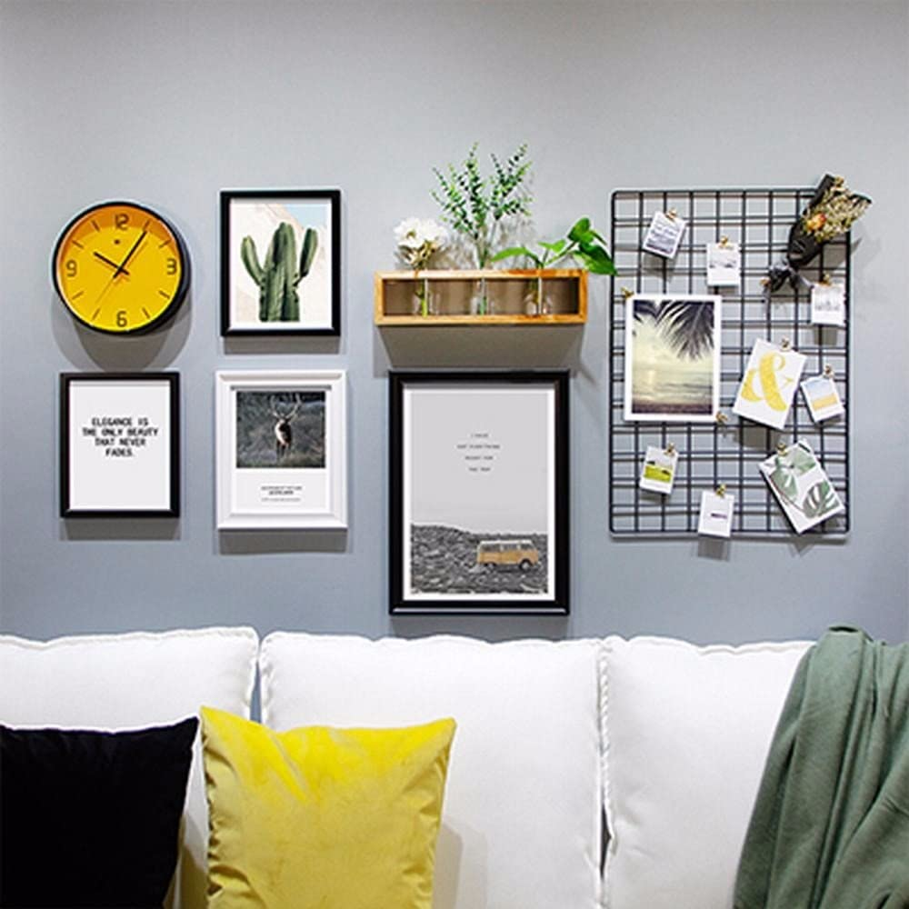 Amazon Com Wuxk The Nordic Photo Wall Decorating Ideas Living Room Bedroom Photo Wall Art Wall Clock Photo Frame Combo B Home Kitchen
