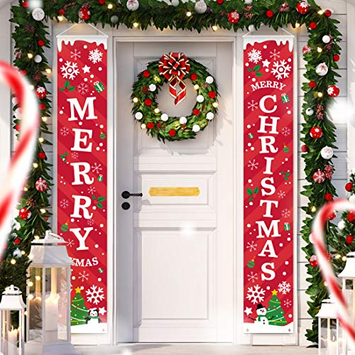 Christmas Porch Decorations Door Banner - Outdoor Xmas Decor Set - Front Door Red Merry Christmas Sign for City, Country & Farmhouse Clearance Wall Hanging Outside