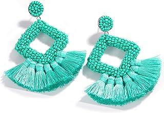 Dvacaman Hoop Tassel Earrings for Women - Statement Handmade Beaded Fringe Dangle Earrings, Idea Gift for Mom, Sister and Friend