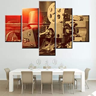 5 Piece Canvas Wall Art Movies Project Pictures Film Camera Paintings for Living Room Vintage Movie Equipment Artwork Modern House Decor Giclee Framed Ready to Hang Posters and Prints(60''Wx40''H)