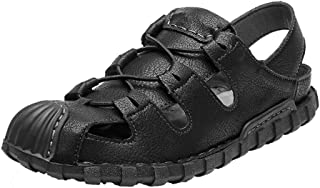 GBZLFH Chaussures de Plage de Sport de Plein air pour Hommes, Sandales à Bout en Cuir d'été, Chaussures de Trou décontract...