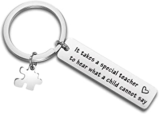 QIIER Autism Awareness Keychain Teacher Gift Speech Language Pathologist Jewelry Thank You Gift It Takes A Special Teacher to Hear What A Child Cannot Say