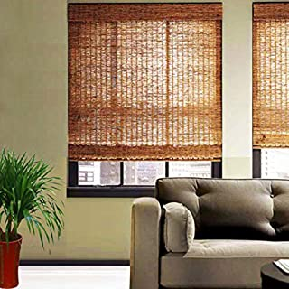 GaoLP BambooBlind - Reed Roller Blinds, No Need for Drilling, Blackout Roman Shade, Environmental Protection/Waterproof/Anti-Corrosion, Customizable Size