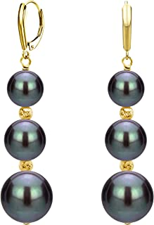 Graduated Freshwater Cultured Pearl and Sparkling Beads Lever-back Earrings