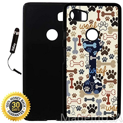 Custom Google Pixel 2XL Case (Dog Paws and Bone Pattern) Plastic Black Cover Ultra Slim | Lightweight | Includes Stylus Pen by Innosub