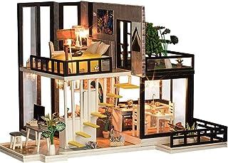 XYZMDJ Hantverk trä gör-det-själv dockhuskit, trä dockhus modell kit gåvor för tonåringar och vuxna