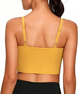 Lemedy Sports Bra Adjustable Strap Crop Padded Tank Top Workout Yoga Gym Running